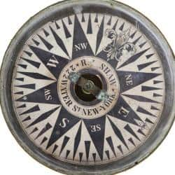 A 19th century compass from the Age of Sail exhibit.