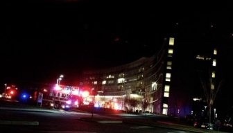 The scene outside the University Medical Center of Princeton at Plainsboro Thursday night.