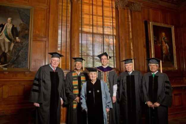 Princeton University President Christopher Eisgruber (center)  with honorary degree recipients (from left) Herb Kelleher, James West, Madeleine Albright, James McPherson and Fazle Hasan Abed. Photo: Princeton University, Office of Communications, Denise Applewhite.