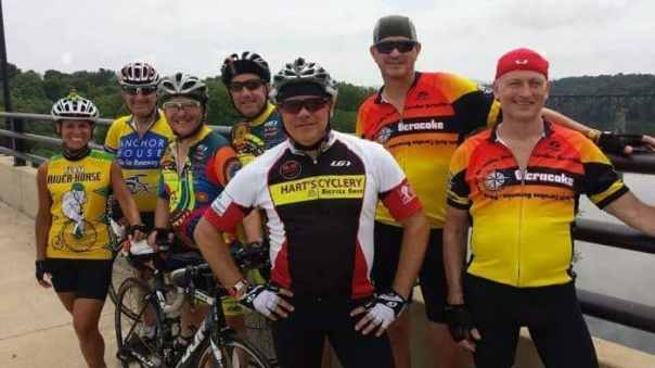 Cyclists stop for a photo on the bridge crossing the Potomac River Tuesday. Photo courtesy of Mark Andrew.
