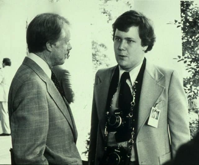Photographer Jay Bryant with President Jimmy Carter on Bryant's final day as an intern at the White House in August of 1978.