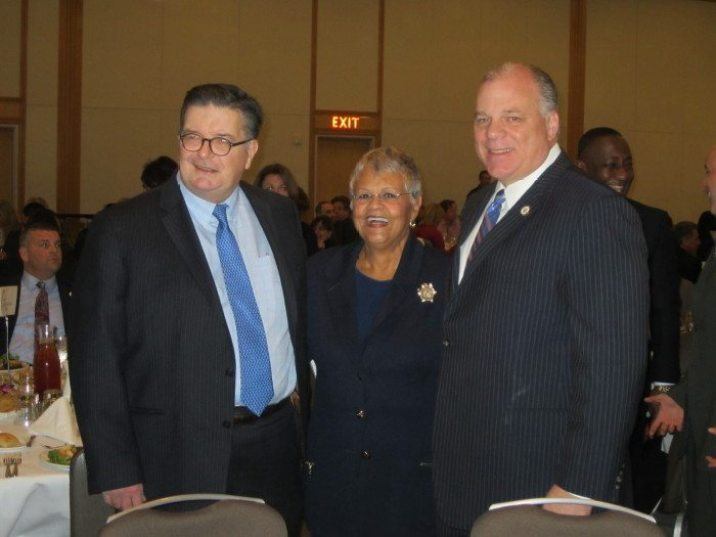 Mercer County Executive Brian M. Hughes (left) with U.S. Rep. Bonnie Watson Coleman and state Senate President Stephen Sweeney at the annual state of the county address Thursday.
