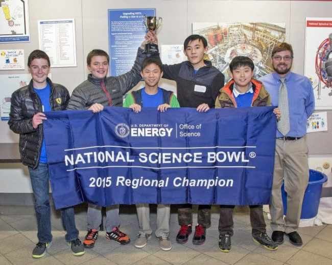 The John Witherspoon Middle School in Princeton won the U.S. Department of Energy's New Jersey Regional Middle School Science Bowl at the Princeton Physics Laboratory on Feb. 20: (l-r) David DiMella, Team Captain Lukas Eriksson, Aaron Wu, Jeffrey Cheng, Hyun Tae Choi, and coach William Merritt. Photo: Elle Starkman, PPPL Office of Communications.