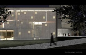 This night rendering of the Music Building, at left, and the Tower, at right, seen from the east. Artwork courtesy of Steven Holl Architects.