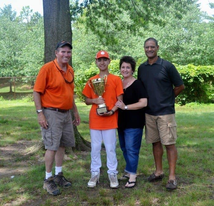 (l-r) Princeton Special Sports Trustee and Jack's dad John Rutledge, Eric Llanos, Nancy Llanos, and Rich Llanos.