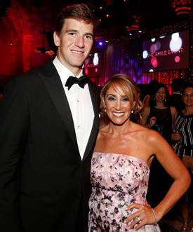 Majeski with Eli Manning last month at the Operation Smile awards ceremony.