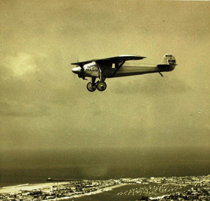 Photo: The Spirit of St. Louis over San Diego, courtesy of the San Diego Air and Space Museum.