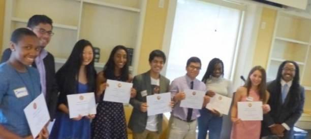 (l-r): Jamaica Ponder, Edgar Morales, Winona Guo, Priya Vulchi, Ziad Ahmed, Luis Lazo-Silva, Sophia Varga, and Calvin Reed.