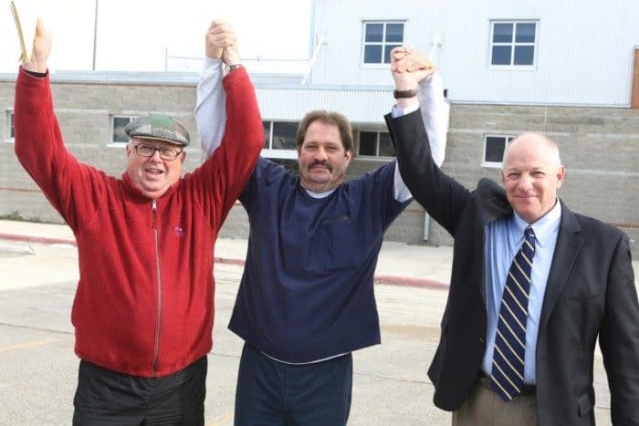 Centurion Founder Jim McCloskey with Barry Beach (c) after he was exonerated.