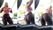 She's Thick: Chick Gives A Free Show At The Gas Station!