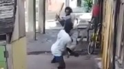 One Legged Man Knocks Down His Opponent With A Brick!
