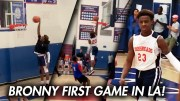 Lebron James Son, Bronny James, Makes His Middle School Debut With A Dunk & Lebron Watching! (27 Points Highlights)