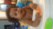 Little Cute boy being Silly eating cheetos