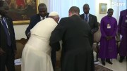He's So Humble: Pope Francis Kisses Southern Sudan Leaders Feet Urging Them To Maintain Peace!