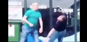 Old Head Holding 2 Beers Gets Knocked Out With 2 Punches!
