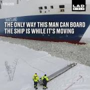 This guy is about to board a moving ship
