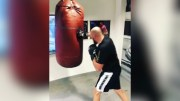 Woah: Tyson Fury Punches Heavy Bag Until Ceiling Collapses!