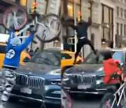 They Outta Line For This: Mob Of Teens Swarm & Attack A Drivers BMW At A Red Light!
