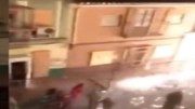 Sparks Everywhere: Group Of Civilians Let Off A Bunch Of Fireworks In An Alley At The Same Time!