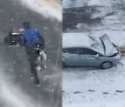 The Real MVP: Pizza Delivery Guy Crashes His Car & Still Manages To Deliver The Pizza!
