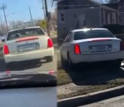 [:en]All Bad: Driver Chases A Man Pretending To Be A Cop And Makes Him Wreck Out In Someone's Backyard![:]