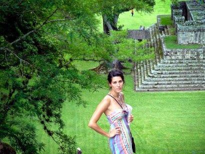 Travel Photo: Honduras - Jess Looking Over The Mayan Ruins of Copan Ruinas