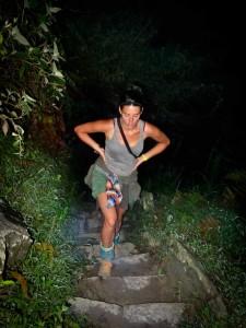 Salkantay Trek - Jess Climbing Machu Picchu at 5am
