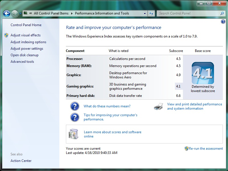 VMware Fusion 3.1 RC Windows 7 Performance Index