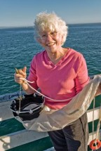 Dr. Mary Silver doing plalnkton study on boat