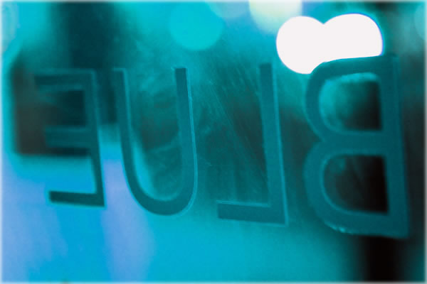 Blue Studio lettering as seen from inside studio. Photograph earlier this morning by Eric Francis.