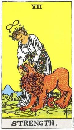 Strength - Rider-Waite Smith Tarot deck.