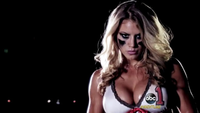 Scene from the Lingerie League, played only by women. Screen image from ABC Sports.