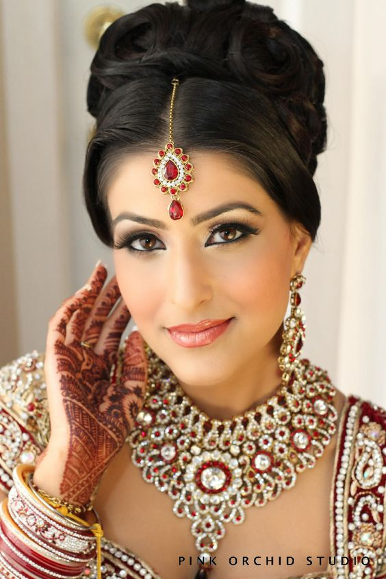 pinned indian bridal hairstyles