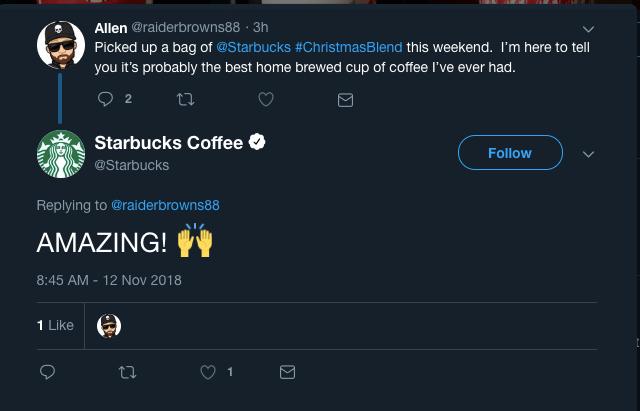 Starbucks Tweet Reply