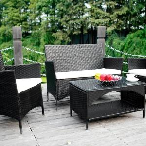 4pc Cushioned Wicker Outdoor Patio Furniture Set