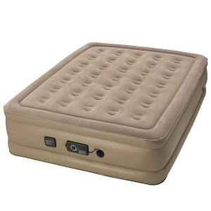 Beige Insta-Bed Queen Size Air Mattress with Never Flat Pump