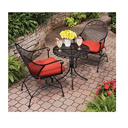 Clayton Court 3 Piece Motion Red Seat Outdoor Bistro Set