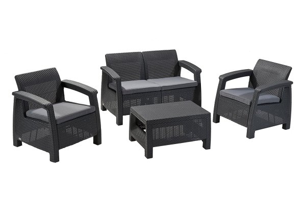 Keter Corfu 4 Piece All Weather Cushioned Outdoor Furniture Set