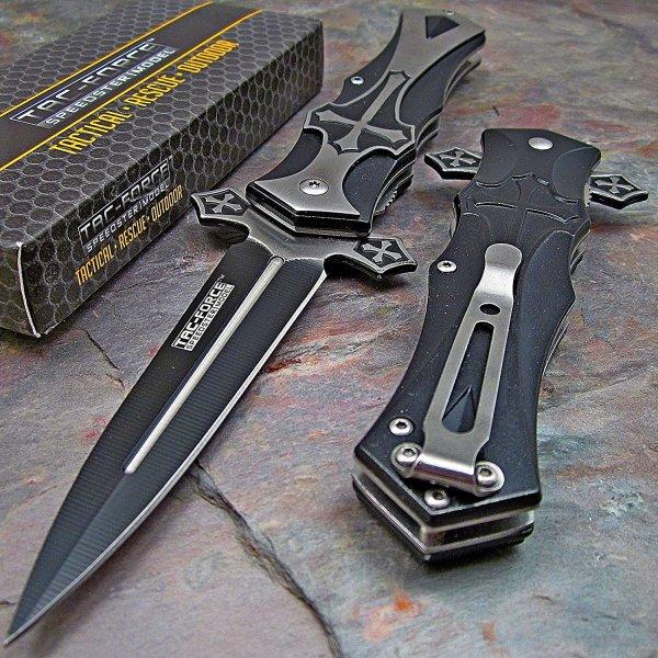 Tac-Force Black Dagger Style Folding Knife