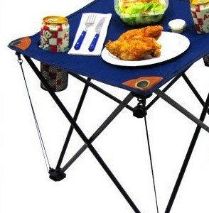 Blue Folding Camping Table with Drink Holders and Carry Bag
