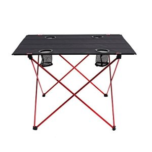 Lightweight Folding Camp Table with Cup Holders