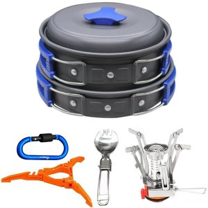 Outdoor Stove Carabiner Canister Camping Cookware Set