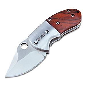 KUBEY Rosewood Handle Mini Folding Pocket Knife