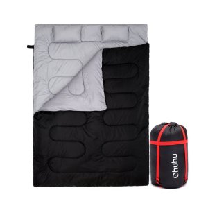 Ohuhu Camping Double Sleeping Bag with 2 Pillows