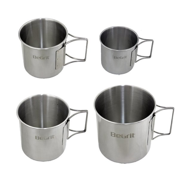 BeGrit 4 Pack Stainless Steel Camp Cup Set with Foldable Handles