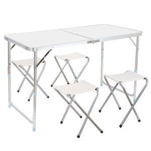 Finether Portable Adjustable Height Folding Table with 4 Folding Chairs