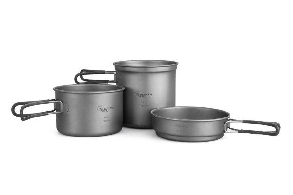 Titanium Lightweight 3-Piece Pot and Pan Camping Mess Kit Cookware Set