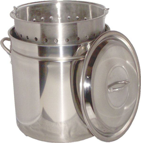 King Kooker 44 Quart Stainless Steel Camp Boiling Pot with Steam Rim