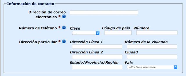 Información de contacto ESTA