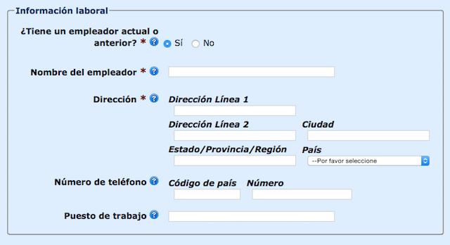 Información laboral ESTA